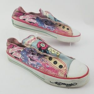 Ed Hardy Pink Slip on Canvas Sneakers